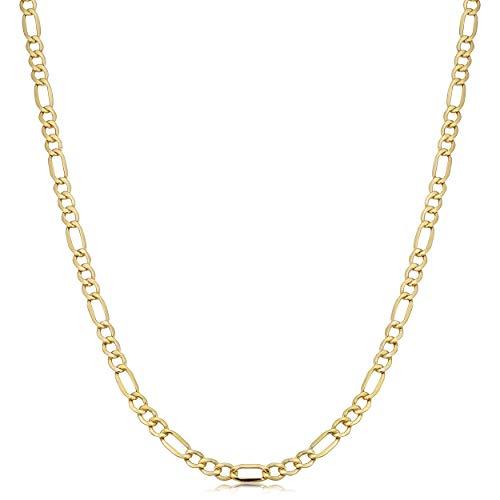 - Kooljewelry 10k Yellow Gold Figaro Link Chain Necklace (3.5 mm, 20 inch)