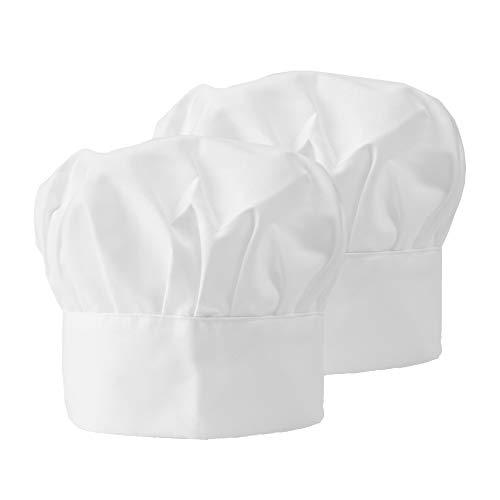 Chef Hat Adjustable Elastic Baker Hats Kitchen Cooking Catering Butcher Hat Mushroom Chef Cap for Women Men Children (White,2)