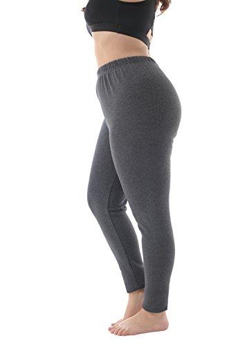Zerdocean Women's Plus Size 100% Cotton Fleece Lining Leggings Dark Gray 4X by ZERDOCEAN