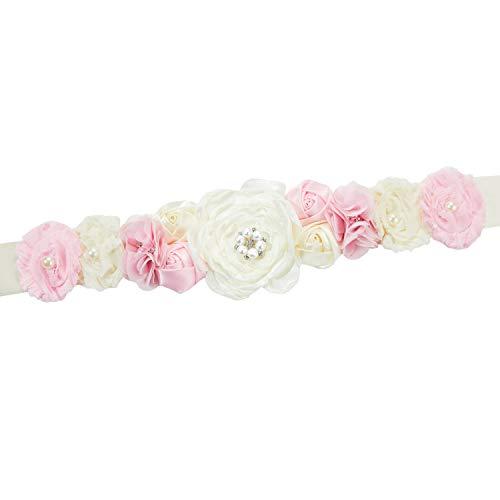 Pregnant Sash Maternity Sash Belt Girls Belt with Flowers for Baby Shower Dress Bridal Wedding Birthday Party Princess Dress Decorations - (Ivory, Pink)