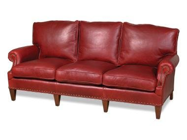 Sleek New Leather Sofa USA Hand-Crafted 3-Seat Top Grain Leather Wood Frame