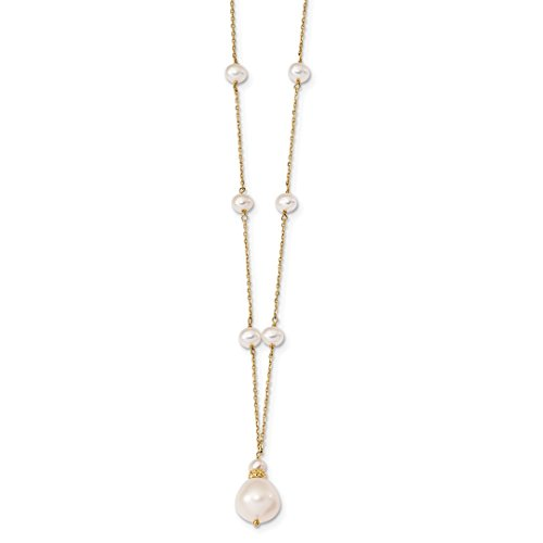 ICE CARATS 14k Yellow Gold 11mm 6mm Rice White Freshwater Cultured Pearl Drop Chain Necklace Bead Station Fine Jewelry Gift Set For Women (White Rice Freshwater Pearl Beads)