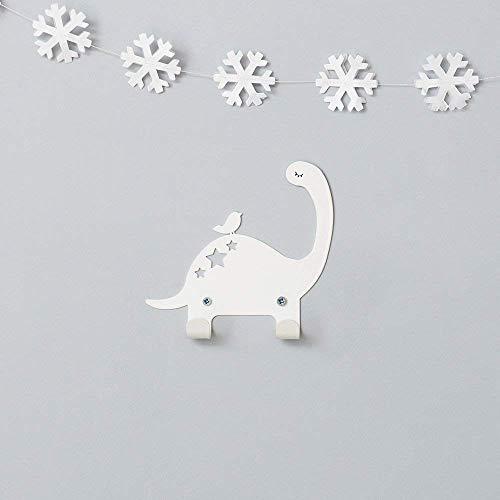 Designer Metal Wall Hanger, Dinosaur & Bird Wall Hook - With 2 Hooks, White