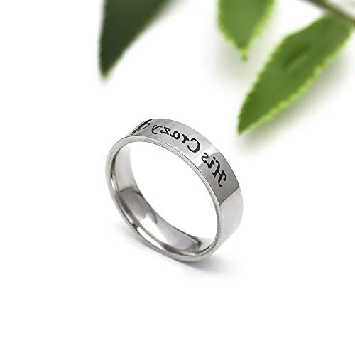 Wausa His Crazy Her Weirdo Promise Couple Ring Titanium Steel Wedding Rings Jewelry | Model RNG - 22890 | 11 ()