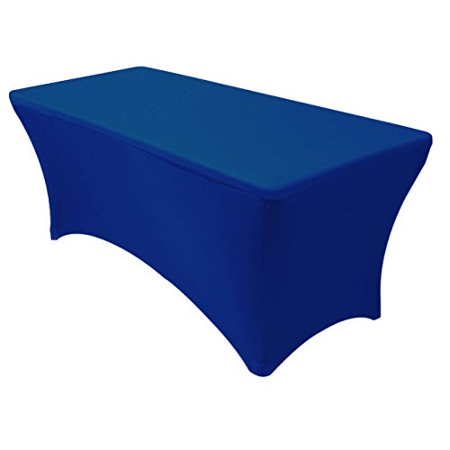 GWHome 6 ft Spandex Fitted Stretch Tablecloth Rectangular Table Cover Wedding Banquet Party (Royal Blue, 6 ft)