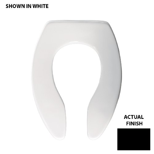 Bemis 1655SSCT047 Elongated Toilet Seat Open Front Less Cover with Self Sustaining Check Hinge, Black by Bemis