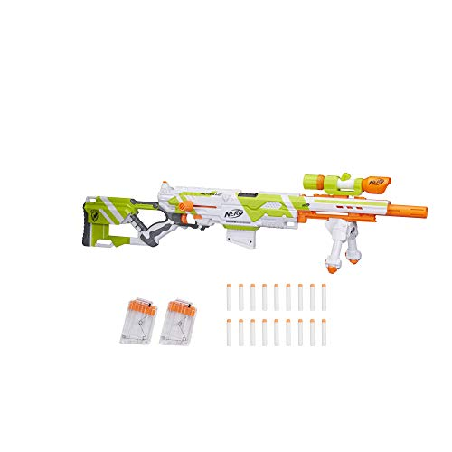 Longstrike Nerf Modulus Toy Blaster with Barrel Extension, Bipod, Scopes, 18 Modulus Elite Darts & 3 Six-Dart Clips (Amazon Exclusive) ()