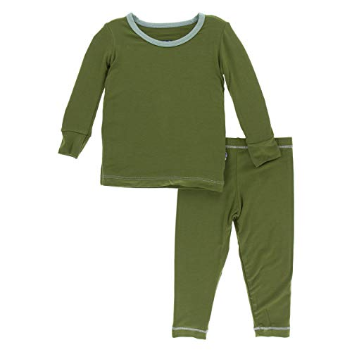 Kickee Pants Little Boys Solid Long Sleeve Pajama Set - Moss with Shore, 3T