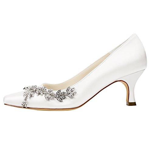 Mujer Zapatos on de Kitten Heel de Pumps Emily Toe Square Cristal Bridal Lujo Shoes Slip Novia Evening de Zapatos Beige de wSIPOTq