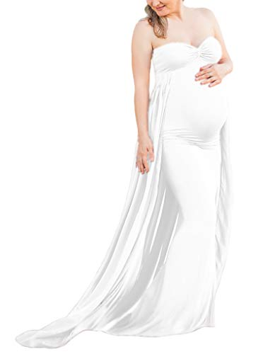Maternity Gown Fitted Maxi Gown, Long Maternity Tube Dress Photography for Photo Shoot, Baby Shower (L, White)