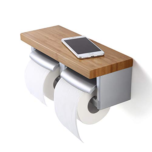 JIWU Toilet Paper Holder with Bamboo Shelf, Double Toilet Roll Holder, Wall Mount Roll Paper Hanger with Mobile Phone Storage