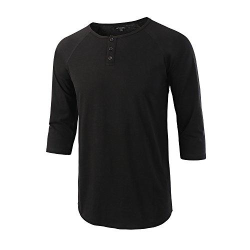 HETHCODE Men's Casual Raglan Fit Soft Baseball 3/4 Sleeve Henley T-Shirts Tee (Baseball Henley Shirt)