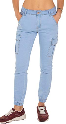 Pier 17 Joggers Pants for Women - Skinny Stretchy Distressed Washed Denim Jogger Jeans (Small, Ice Wash LT) - Low Sweatpants Rise