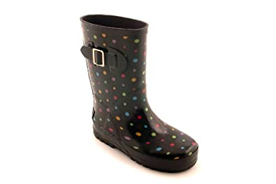 Amazon.com | Rain Boots Girls Black Polka Dot Black Size 12 | Rain ...