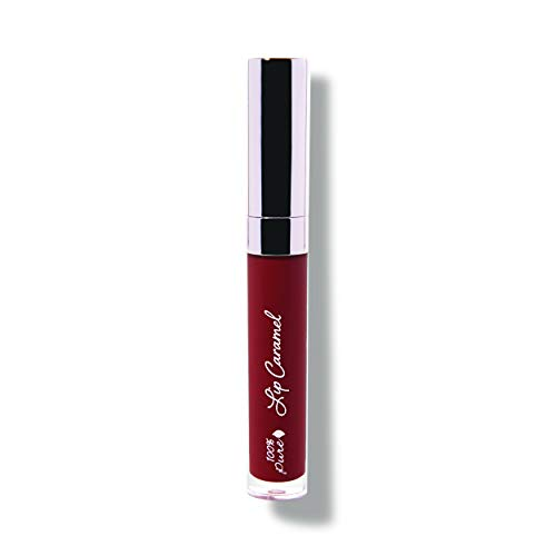 (100% PURE Lip Caramel, Red Velvet, Long Lasting Liquid Lipstick, Nude lipstick with Glossy Finish, Natural lipstick, Vegan Makeup - 0.177 Fl Oz)