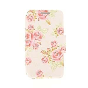 WQQ kinston patrón pasta de diamante grandes y pequeñas flores de color rojo pu cuero caso de cuerpo completo con soporte para el iPhone 6 Plus