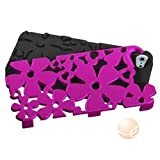 MYBAT Titanium Solid Hot Pink/Black Flowerpower Hybrid Phone Protector Cover compatible with Apple iPhone 5S/5