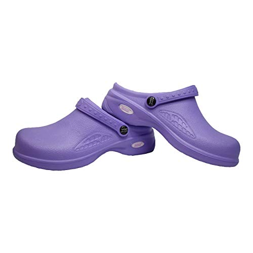Natural Uniforms Ultralite Women's Clogs with Strap, Work Mule (Size 9, Lilac)