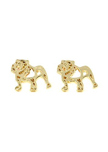 Bulldog Outline Stud Earrings Gold Tone EJ44 Dog Pet Puppy Posts Fashion Jewelry