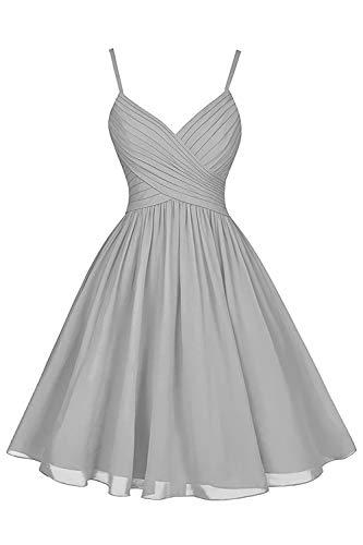 - Silver Gray Bridesmaid Dresses Short Knee Length A-Line V-Neck Chiffon Party Dress with Pockets