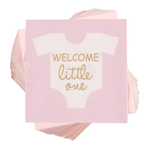 Baby Shower Cocktail Napkins - 100-Pack''Welcome Little One'' Disposable Paper Party Napkins - Perfect for Girls Baby Shower or Gender Reveal Parties - 5 x 5 inches Folded, Pink by Blue Panda