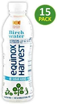 EQUINOX HARVEST NO SUGAR ADDED Birch Water / 16.9 Fl. Oz. (500ml) x 15 Bottles/Tapped from Birch Trees/Natural Ingredients