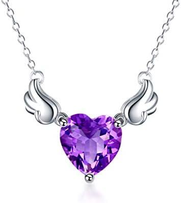 CWHMYB Sterling Silber Halskette, Lila Kristall Schlüsselbein Schmuck, Angel Love Anhänger Halskette