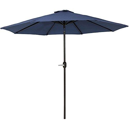 Sunnydaze 9-Foot Outdoor Patio Umbrella with Fade Resistant Umbrella Canopy, Auto Tilt & Crank, Rust Resistant Aluminum, Navy Blue