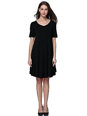 MsBasic Women's Knee Length Loose Fit Classy T-Shirt Flared Tunic Dress