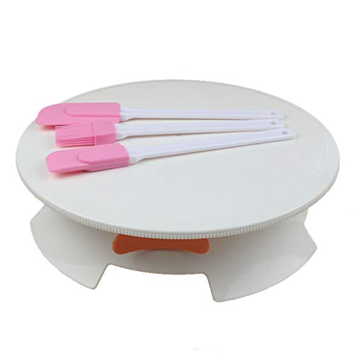 LLJEkieee Cake Decorating Mounting Turntable Rotating With Locking And Clarity Scale (1x Cake Turntable,3x Oil Brush)
