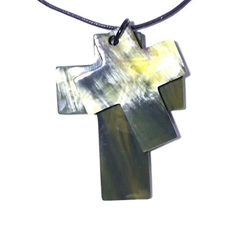 Double Cross pendant from natural buffalo horn, adjustable cord - Horn pendant necklace - Pendentif croix en corne - Kreuz Anhänger