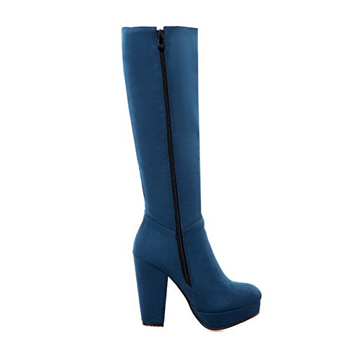 Chunky Frosted Allhqfashion Women's Boots Heels Solid Closed Round Toe Blue X6qv5