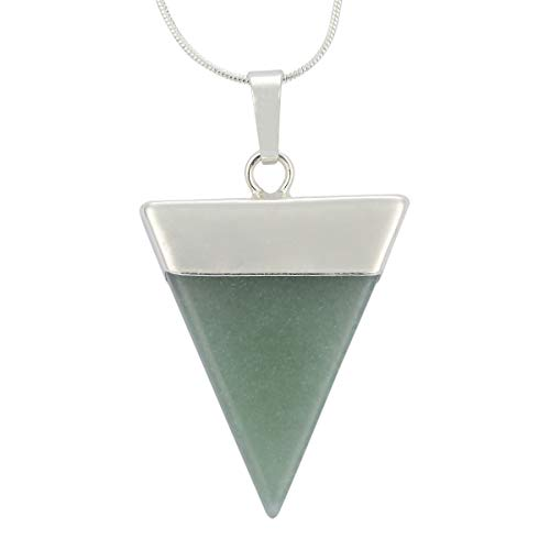 Natural Aventurine Necklace Healing Crystal Reiki Chakra Triangle Cut 18-20 Inch Gemstone Necklace (1pc) Great Gift #GGP-A6 - Aventurine Pearl Earrings