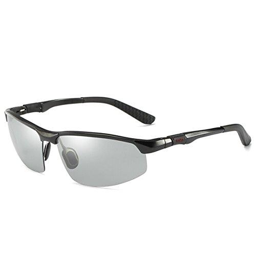 Gafas Fotosensibles de de Conductor polarizado Hombres de Noche Gafas los Nocturna y Plata de Marco la de Gafas de día Gafas Sol visión de Sol Black Frame Discoloration decoloración Color Gafas de de KOMNY la conducción de FHdwxOqF
