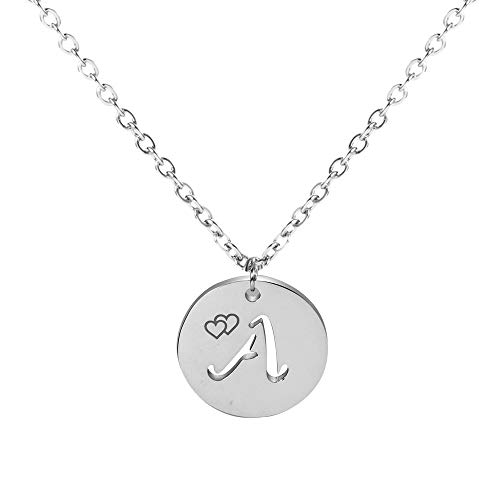 (TUSHUO A-Z Letter Necklace Sterling Silver Initial Circular Hollow Out Pendant in Valentine's Day for Women Girls (A))