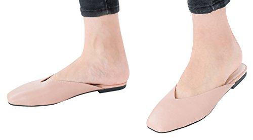 Annakastle Kvinna Vegan Läder V-cut Lägenheter Mule Slide Backless Skor Rosa