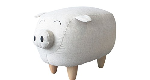 Round,Super Adorable and Comfortable Piggy the Pig Kids Stool,Off-White,Playful Addition to Any Room,Makes a Great Gift