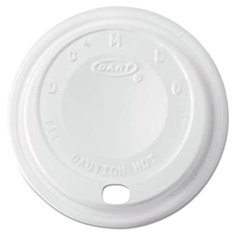 Dart Cappuccino Dome Sipper Lids, Fits 8-10oz Cups, White - 1,000 lids.