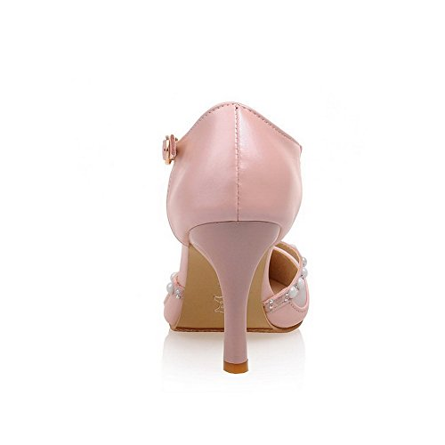 Stilettos Spikes Toe Solid Pointed Material Soft Closed Buckle WeiPoot Pink Shoes Women's Pumps wFpq0AU