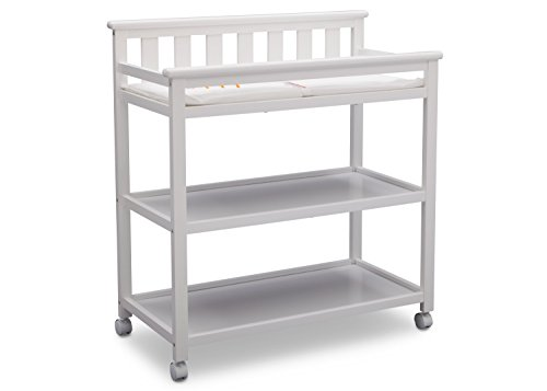 Delta Children Flat Top Changing Table with Casters, White