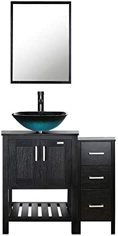 eclife 36 Bathroom Vanity Sink Combo Black W/Side Cabinet Vanity Turquoise Square Tempered Glass Vessel Sink 1.5 GPM Water Save Faucet Solid Brass Pop Up Drain