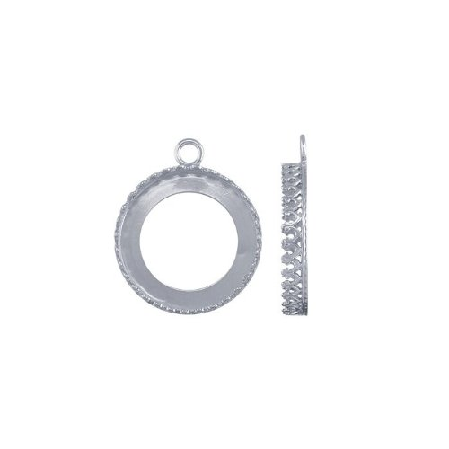 Sterling Silver 20mm Round Gallery Wire Bezel Component - Gallery Silver Wire