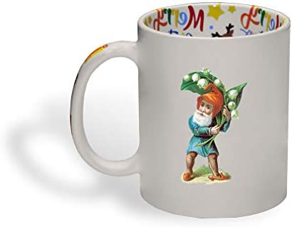 Ceramic Christmas Coffee Mug Gnome with Lily of The Valley Fantasy Elves Funny Tea Cup