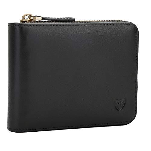 RFID Blocking Men's Genuine Leather Wallet,Zipper Wallet Zip Around Wallet Bifold Credit Card Holder Purse (Black) ()