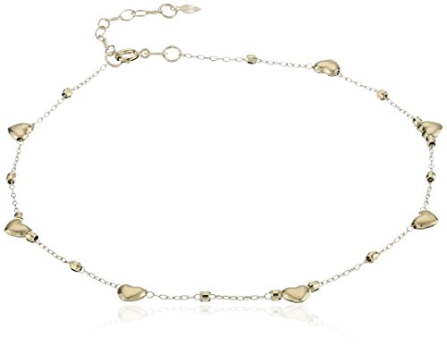 14k Gold Hearts Station and High Polished Bead Anklet, 9""