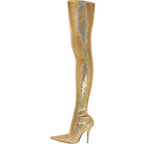 Themost Sequin Thigh High Boots Womens Stretch Over The Knee High Boot Pointed Toe High Heel Booties Gold