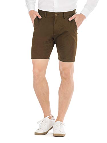 HONTOUTE Men's Shorts Mid Rise Cotton Twill Short Casual Pants Chino Solid Skinny Dress Brown 29 ()