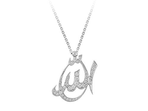 Birgie Diamants et Bijoux -Pendentif Ecriture Dieu Diamants-Femme- or Blanc 201P0100