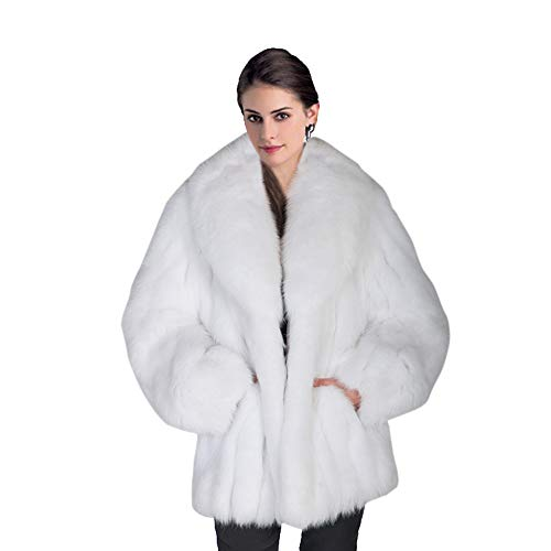 (Rvxigzvi Womens Faux Fur Coat Parka Jacket Long Trench Winter Warm Thick Outerwear Overcoat Plus Size S-4XL (White, US XS/0-2))