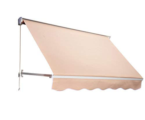 Outsunny Drop Arm Manual Retractable Window Awning, 6-Feet, Cream ()